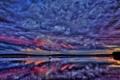 Картинка небо, облака, закат, отражение, река, лодка, зарево