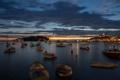 Картинка город, огни, лодки, вечер, Хорватия, Адриатическое море, Ровинь