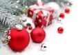 Картинка зима, шарики, ветки, игрушки, елка, ель, подарки