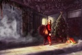 Картинка взгляд, дом, елка, куклы, арт, подарки, мешок