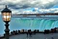 Картинка облака, люди, фонарь, Ниагарский водопад, туристы, смотровая площадка
