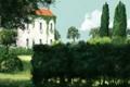 Картинка заросли, деревья, природа, арт, здание, дом