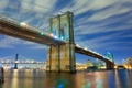 Картинка Бруклинский мост, мосты, Нью-Йорк, вода, огни