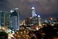 Картинка здания, деревья., ночь, высотки, отель, Thailand Bangkok, Тайланд