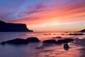 Картинка закат, камни, небо, облака, море, скала