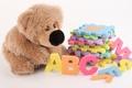Картинка детство, буквы, настроение, игрушка, игра, мишка, детская