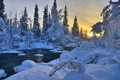Картинка зима, лес, небо, снег, деревья, природа, река