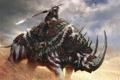 Картинка оружие, воин, арт, копье, зверь, Age of Conan, носорог