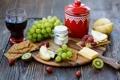 Картинка виноград, груша, крекеры, сыр, красное, вино, печенье