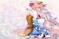 Картинка девушка, настроение, аниме, кимоно, ушки