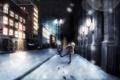 Картинка зима, машина, девушка, снег, город, дома, наушники