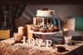 Картинка надпись, love, сервировка, украшение, любовь, кексы, dessert