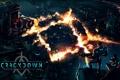 Картинка logo, бойцы, лого, Microsoft Game Studios, город, дома, огонь