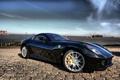 Картинка море, небо, яхты, черная, Ferrari 599 GTB Fiorano