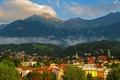 Картинка пейзаж, горы, дома, Австрия, леса, Innsbruck