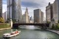 Картинка вода, река, здания, небоскребы, америка, чикаго, Chicago