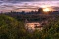 Картинка поле, пейзаж, закат, пруд