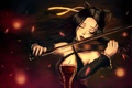 Картинка девушка, скрипка, играет, закрытые глаза