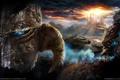 Картинка солнце, тучи, город, дракон, камень, танк, статуи