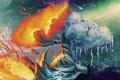 Картинка дерево, огонь, лёд, арт, контраст