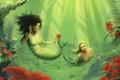 Картинка цветок, девушки, чешуя, фэнтези, арт, подводный мир, русалки