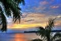 Картинка облака, небо, солнце, листва, вода, река Рио-Дульсе, устье