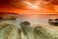 Картинка небо, камни, берег, оранж