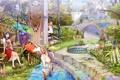 Картинка парк, девочки, аниме, фонтан
