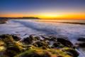Картинка море, небо, закат, камни, США, San Francisco, Baker Beach