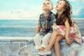Картинка мальчик, друзья, радость, дети, настроение, море, девочка