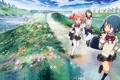 Картинка трава, цветы, мост, река, девочки, аниме, форма
