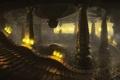 Картинка огонь, узоры, арт, лестница, колонны, храм, помещение
