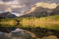 Картинка осень, лес, вода, деревья, горы, озеро, отражение