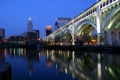 Картинка ночь, мост, огни, Город