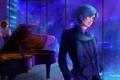 Картинка девушка, ночь, город, окна, рояль, парень, vocaloid