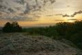 Картинка небо, солнце, облака, деревья, рассвет, гора