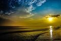 Картинка море, небо, солнце, облака, закат, скалы