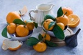 Картинка листья, кожура, мандарины