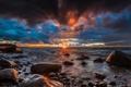 Картинка пляж, солнце, камни, океан, рассвет, побережье