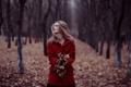 Картинка осень, лес, девушка, настроение