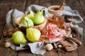 Картинка орехи, натюрморт, мёд, груши, хамон