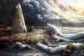 Картинка камни, маяк, башня, волны, море, солнечные лучи, арт
