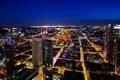 Картинка ночь, город, огни, здания, дома, небоскребы, Германия