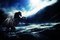Картинка солнце, облака, скалы, крылья, Лошадь, красные глаза