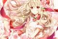 Картинка девушка, цветы, сакура, ключ, арт, лента, вишенки