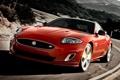 Картинка дорога, красный, фон, купе, Jaguar, XKR, Ягуар