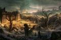 Картинка пейзаж, камни, скалы, здание, арт, руины