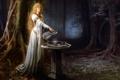 Картинка лес, чаша, зеркало, властелин колец, арт, кувшин, эльфийка