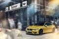 Картинка бмв, BMW, жёлтая, yellow, Coupe, пешеходы, F82