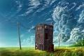 Картинка поле, трава, облака, пейзаж, провода, здание, арт